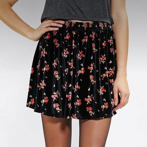 Urban Outfitters Floral Ecote Velvet Circle Skirt